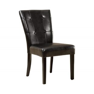 Chaim Tufted Upholstered Parsons Chair in Black Set of 2 by Winston Porter