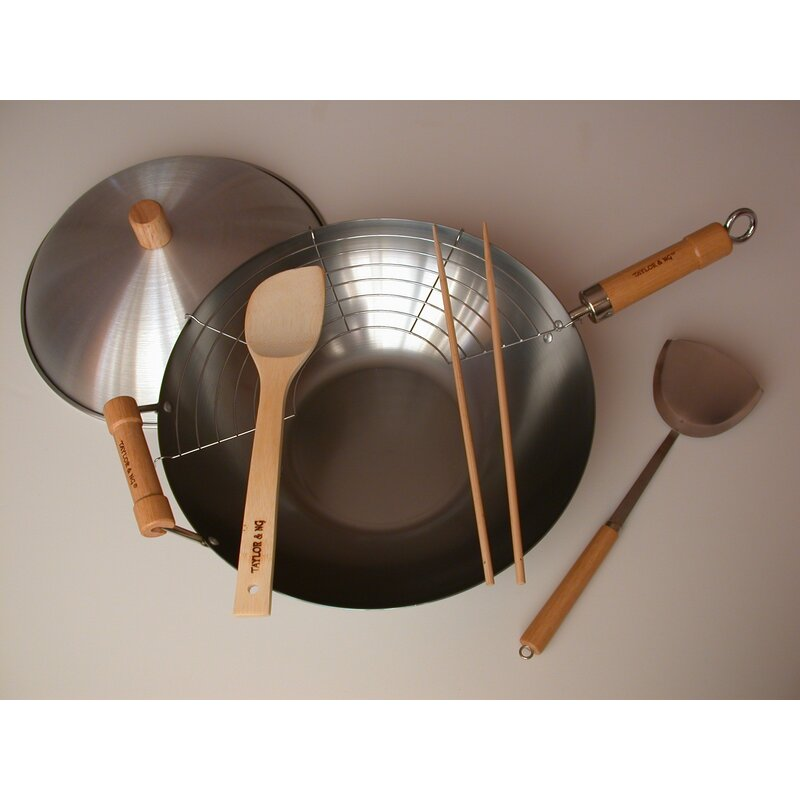 taylor  ng classic woks 6 piece nonstick carbon steel