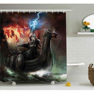 Fantasy World Lightning Wrath Single Shower Curtain