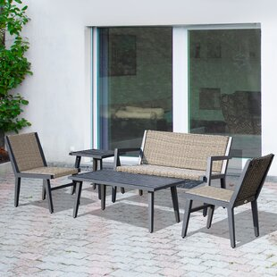 Quinton Outdoor 5 Piece Rattan Sofa Seating Group