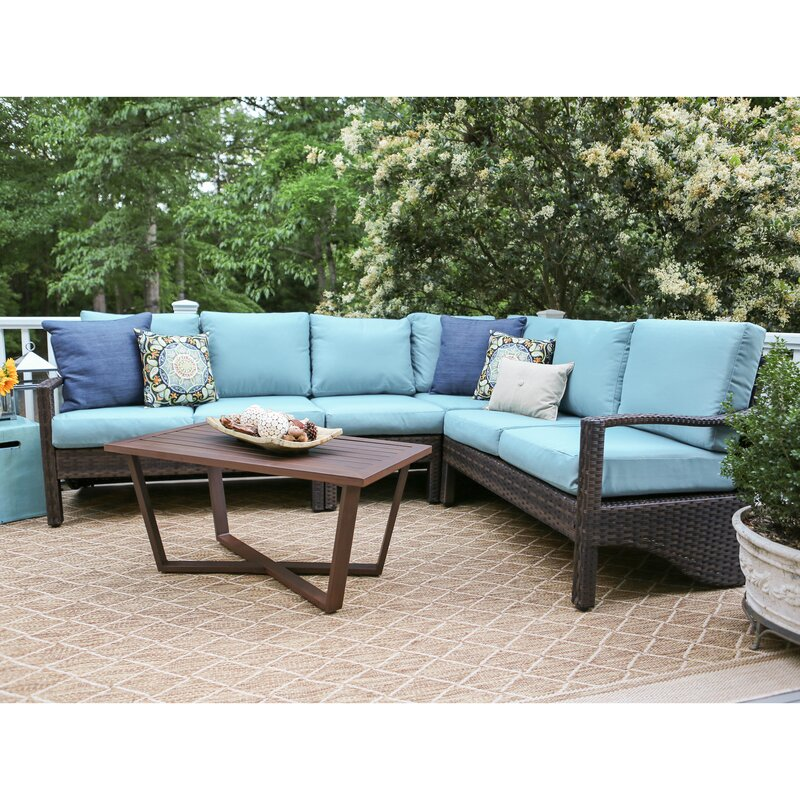 Augusta 5 Piece Wicker Sectional Deep Seating Group With Cushions