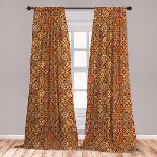 Ambesonne Moroccan Curtains, Vintage Hand Drawn Style Ottoman Trellis  Floral Motifs, Window Treatments 2 Panel Set For Living Room Bedroom Decor,  56\