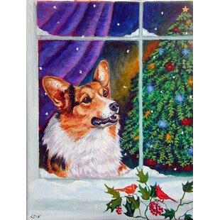 corgi christmas window 2 sided garden flag - Christmas Corgi