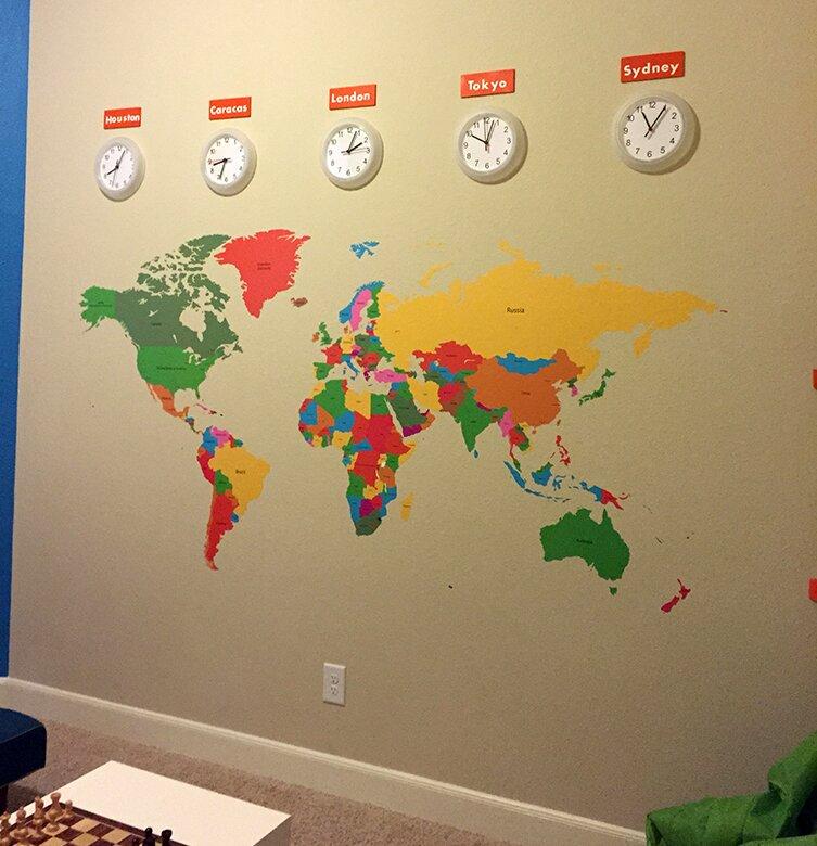 Pop Decors Educational World Map for Kids Room Wall Decal | Wayfair