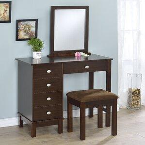 Gannaway Vanity Set with MirrorMakeup Tables and Vanities You ll Love   Wayfair. Desk Vanity Mirror With Lights. Home Design Ideas