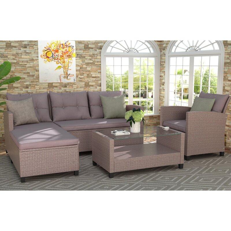 Latitude Run Cooleemee 4 Piece Rattan Sectional Seating Group With Cushions Wayfair