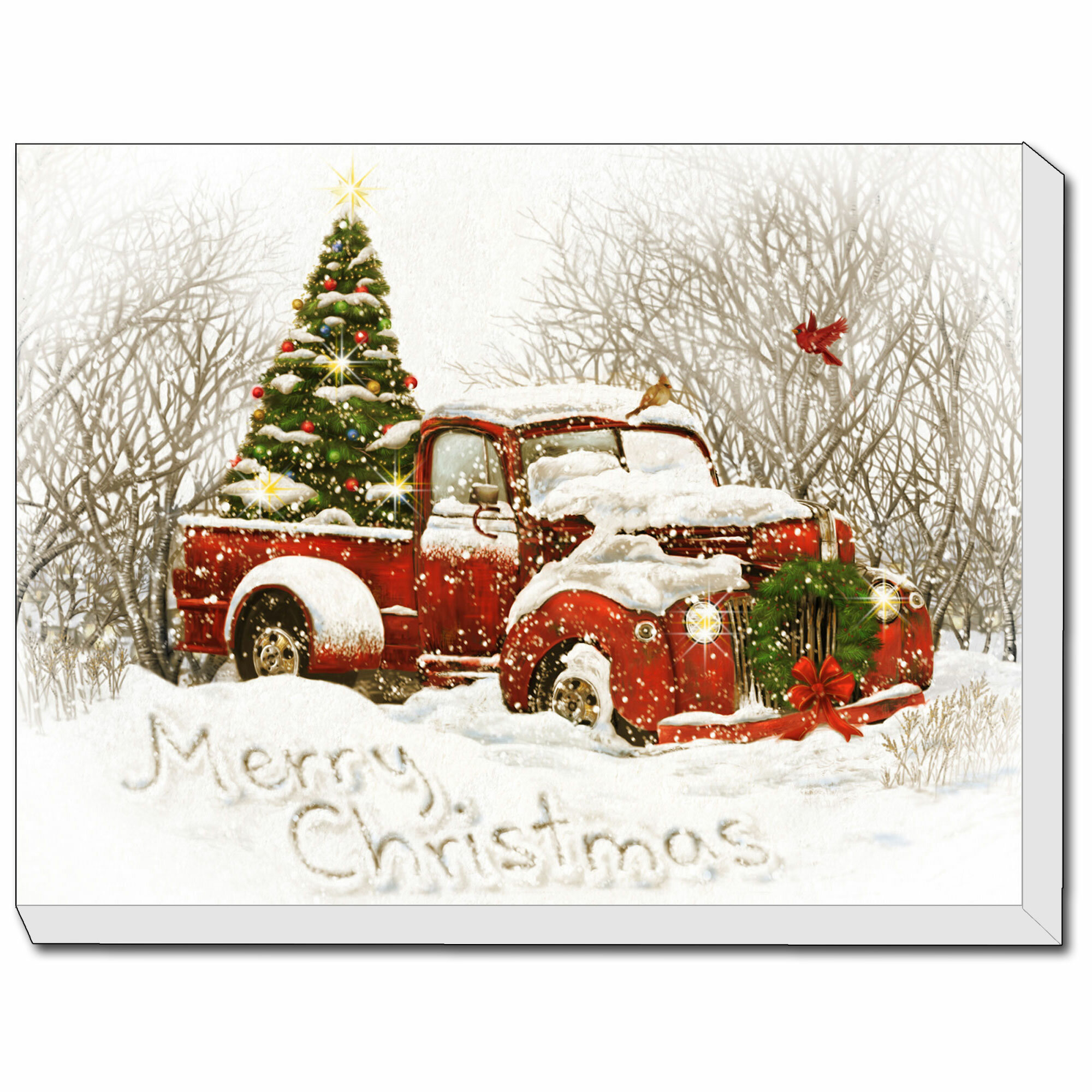 The Holiday Aisle Vintage Christmas Tree Truck Print Reviews Wayfair