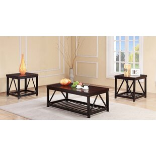 Delray Metal Frame 3 Piece Coffee Table Set