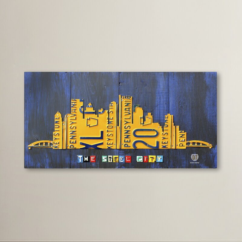 Latitude Run Pittsburgh Skyline Graphic Art On Wrapped Canvas Reviews Wayfair