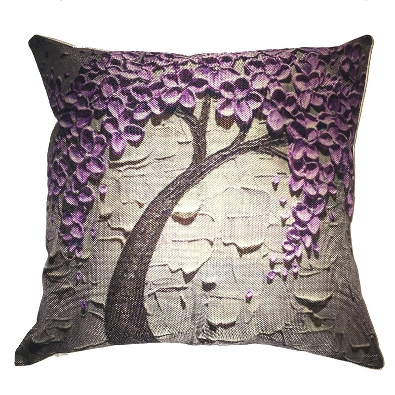 Lillowz Purple Flower Tree Throw Pillow Amp Reviews Wayfair
