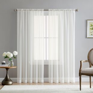 Brushgrove Solid Sheer Rod Pocket Window Curtain Panels (Set of 2) by Willa Arlo Interiors