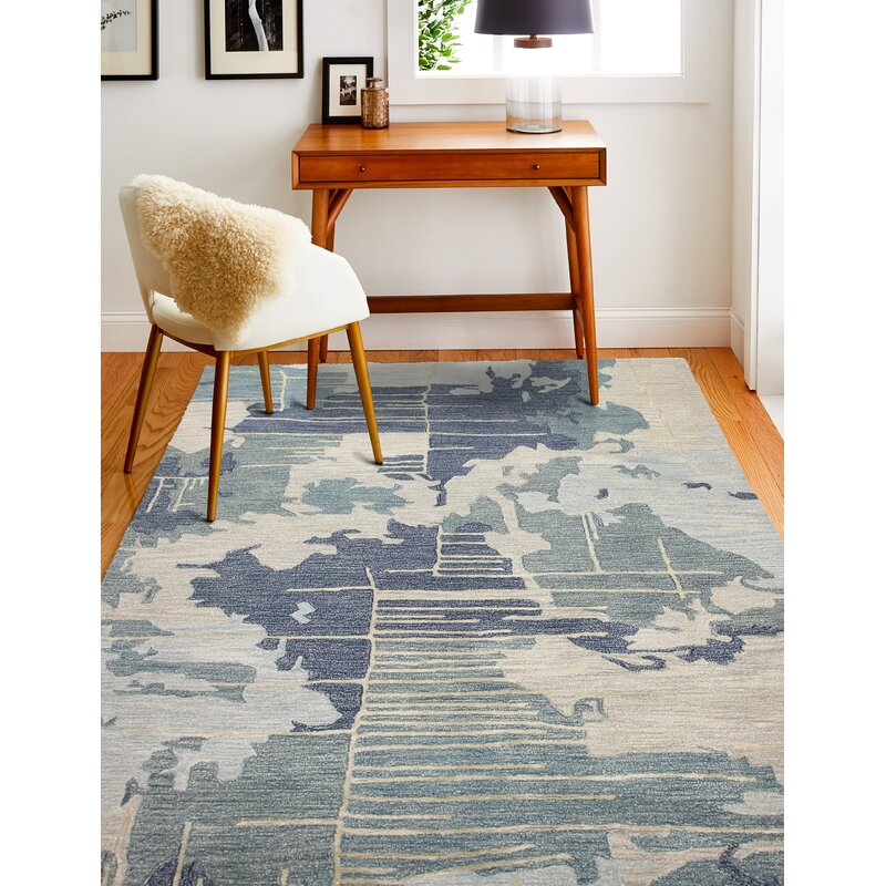 17 Stories Lanier Floral Wool Blue Area Rug Wayfair