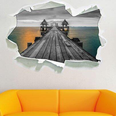 Boat Sea Pier Sunset Wall Tattoo Wall Sticker Wall Sticker E0735