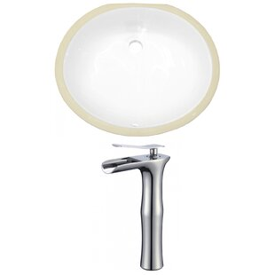Price Check CUPC Ceramic Oval Undermount Bathroom Sink with Faucet and Overflow By American Imaginations