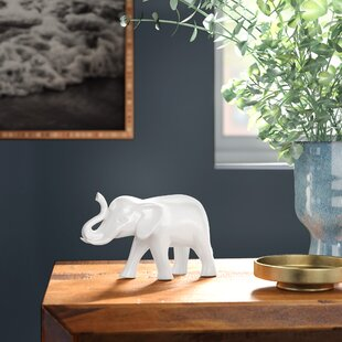 Urban Trends 2 Piece Ceramic Standing on Two Legs Trumpeting Elephant Bookend Polished Silver