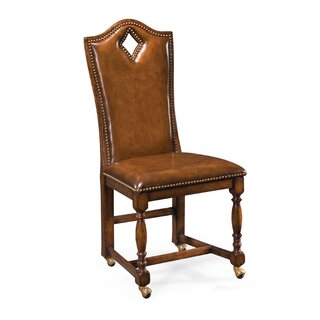 "High Back Playing Card ""Diamond"" Genuine Leather Upholstered Dining Chair (Set of 2) by Jonathan Charles Fine Furniture SKU:BD782949 Price Compare"