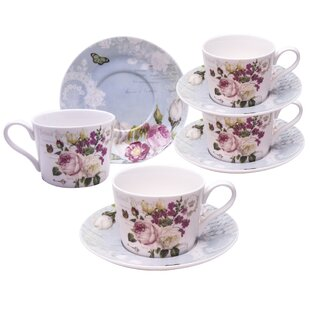 Figaro Botanical Blue Bird Porcelain Coffee Cup and Saucer (Set of 4)
