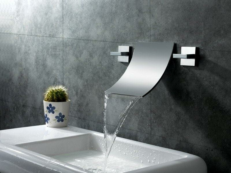 Sumerain Double Handle Wall Mount Waterfall Bathroom Sink Faucet ...
