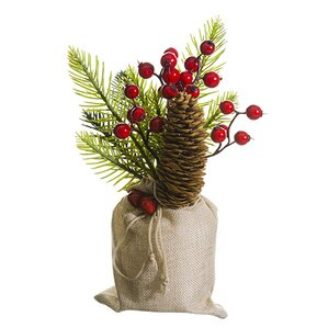 Berry, Pine Cone and Pine Centerpiece in Burlap Pot