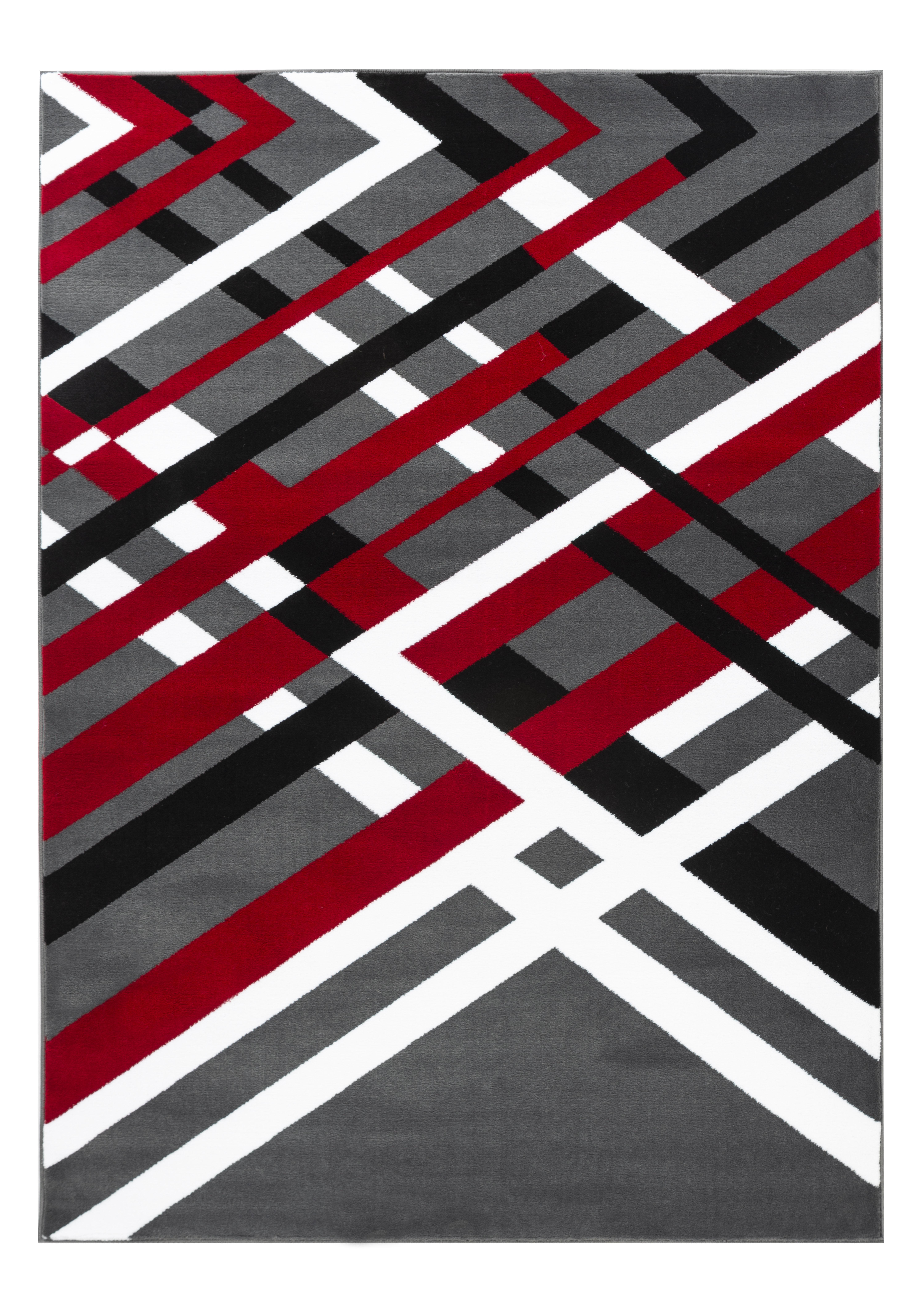 Ebern Designs Velez Modern Abstract Gray Black Red Area Rug Wayfair