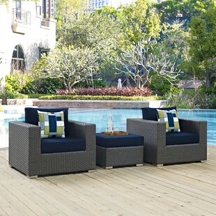 Tripp 3 Piece Sunbrella Conversation Set with Cushions