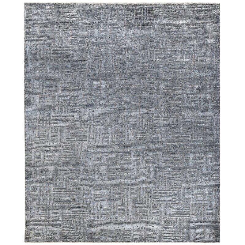 Dakota Fields Quartz Hand Knotted Gray Blue Area Rug Perigold