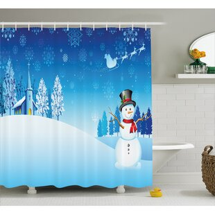 Christmas Snowman Church Stars Single Shower Curtain