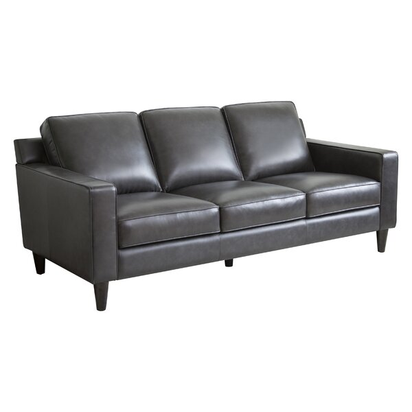 Dark Grey Leather Sofa | Wayfair