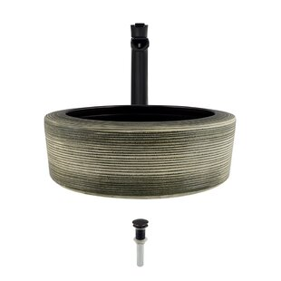 Inexpensive Artisan Ceramic Circular Vessel Bathroom Sink with Faucet ByMR Direct