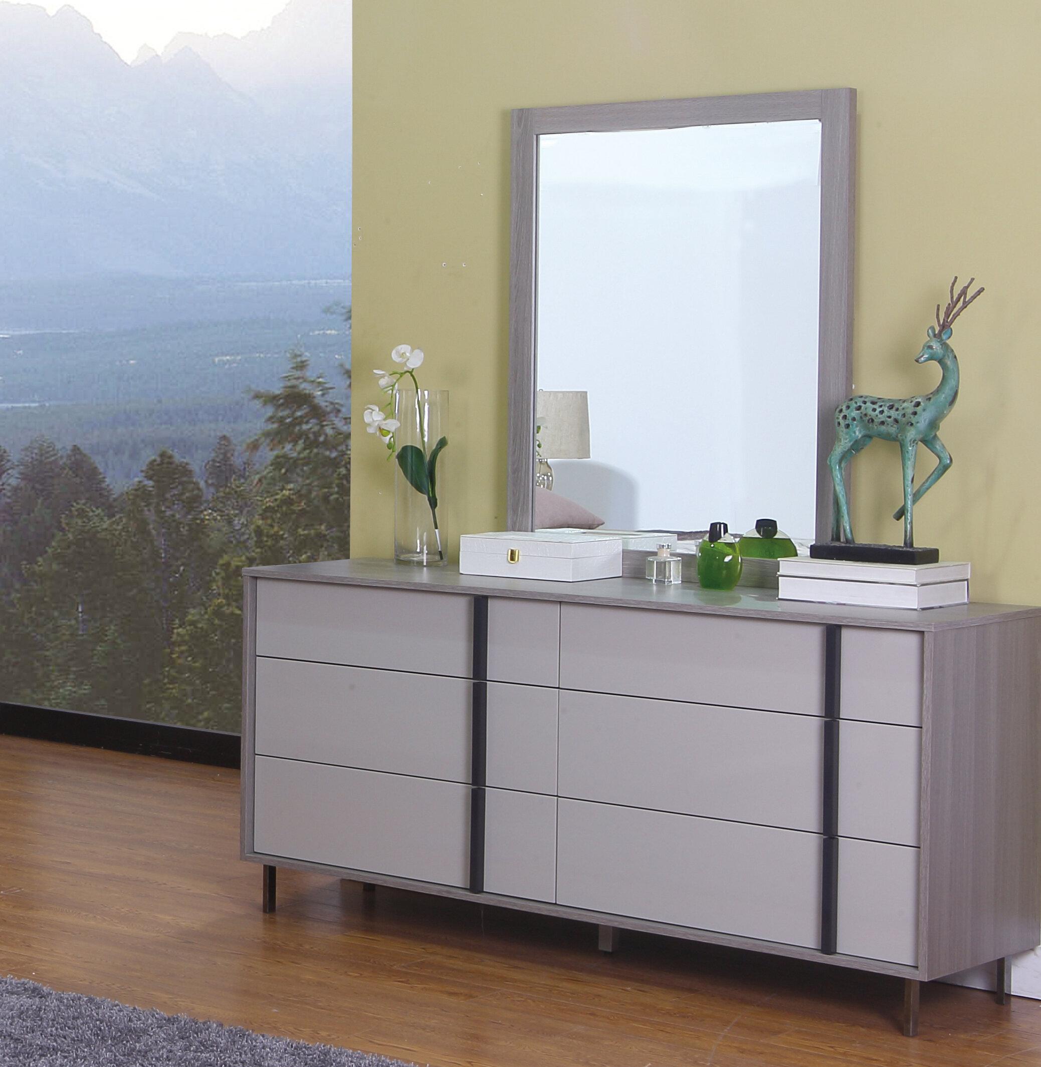 Orren Ellis Cindina 6 Drawer Double Dresser With Mirror Wayfair