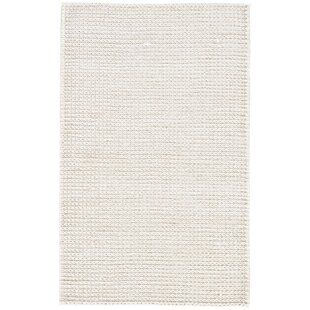 Best Reviews Giselle Natural Solid Hand Woven White Area Rug By Highland Dunes