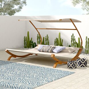 Tillis Double Teak Chaise Lounge with Cushion