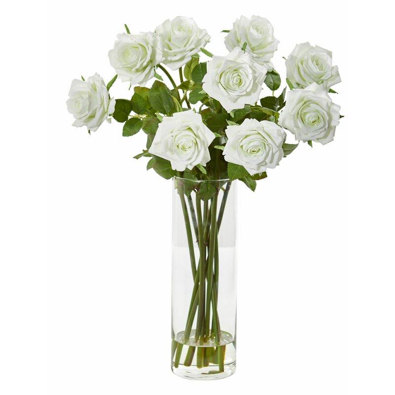 House Of Hampton Artificial Roses Floral Arrangement In Vase Reviews Wayfair