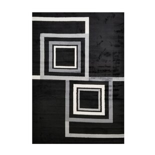 Online Reviews Spies Geometric Boxes Black Area Rug By Orren Ellis