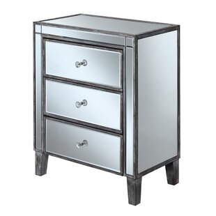 Claybrooks Large 3 Drawers Mirrored End Table with Storage