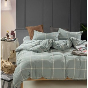 Tollette Windowpane Washed Cotton Duvet Cover Set