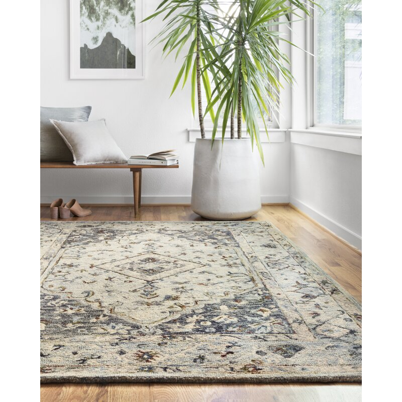 World Menagerie Veronika Hand Hooked Wool Carbon Sand Gray Area Rug Reviews Wayfair