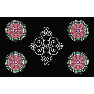 Boho Medallion Square Black Area Rug ByManual Woodworkers & Weavers