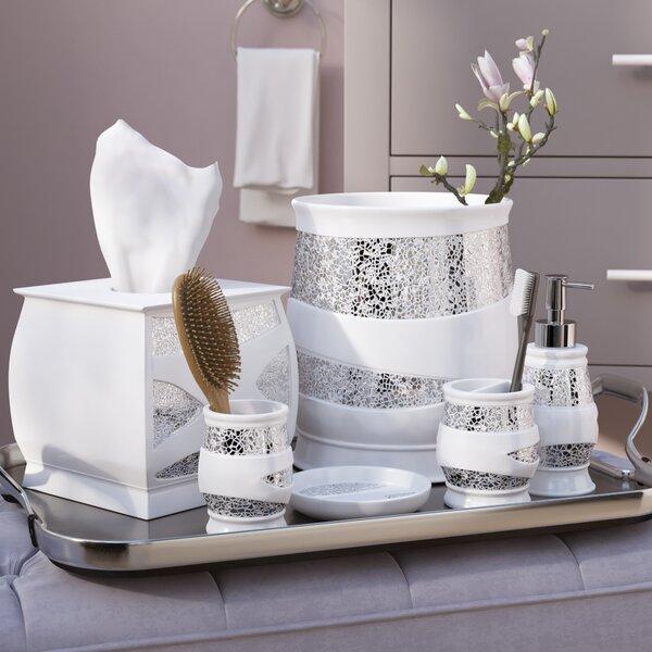 Irie 6 Piece White Silver Bathroom Accessory Set