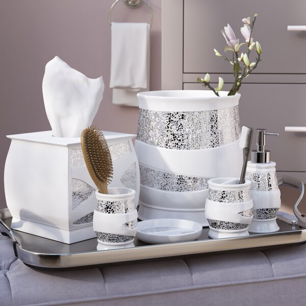 Delightful Willa Arlo Interiors Rivet 6 Piece White/Silver Bathroom Accessory Set U0026  Reviews | Wayfair