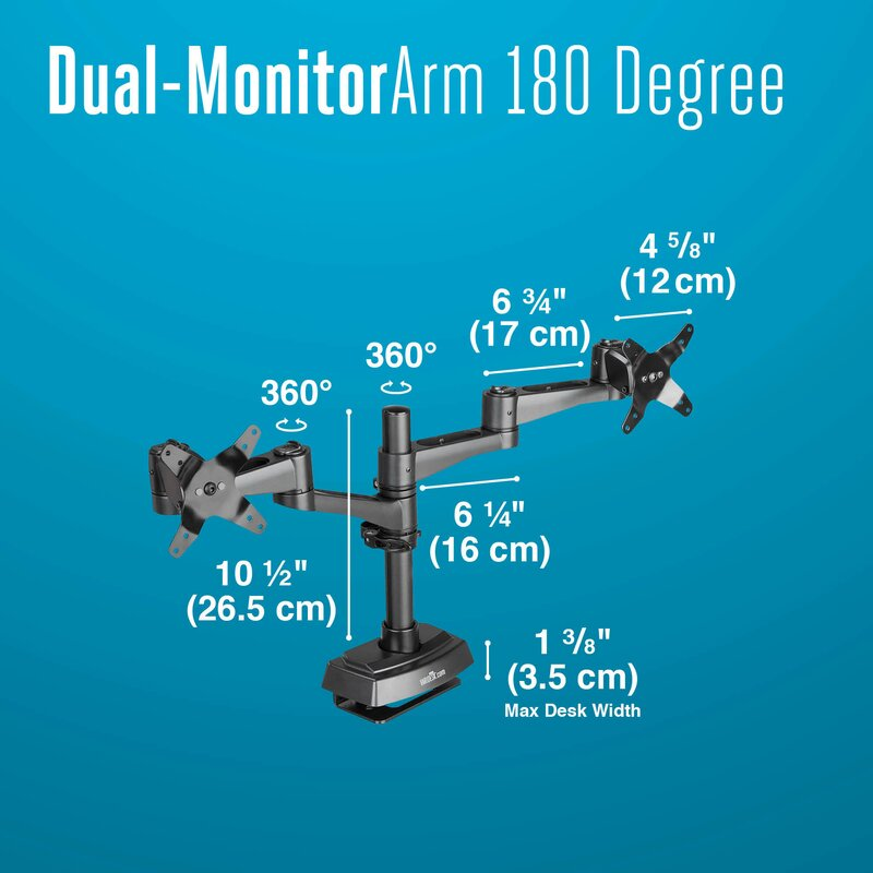 Cubicle Dual Monitor Arm 2 Screen Desk Mount