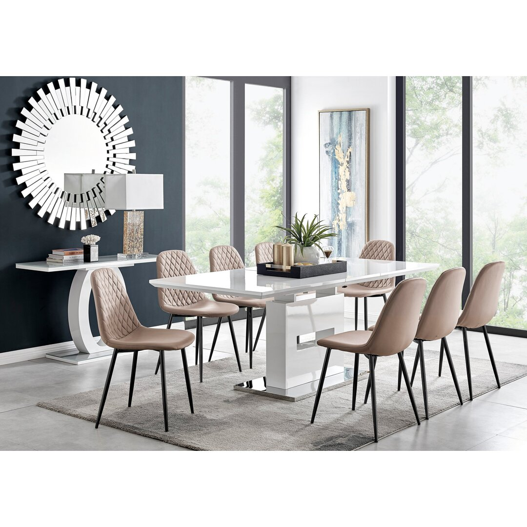 Arezzo Large Extending Dining Table And 8 Cappuccino Corona