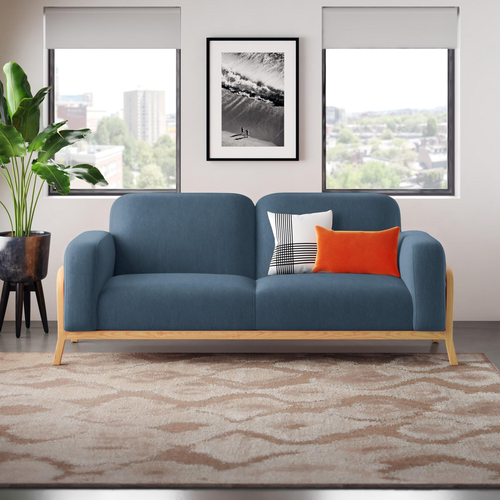 Modern Blue Rolled Round Arms Sofas Allmodern