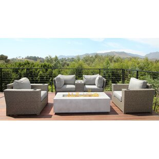 Simmerman 6 Piece Rattan Sectional Seating Group with Cushions