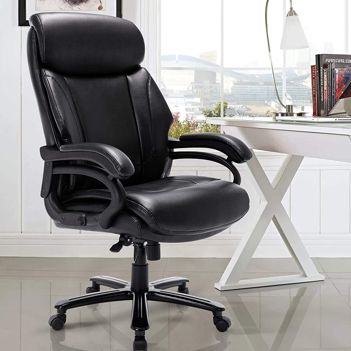 High Back Large And High Size 8 Pounds Bonded Leather Office Chair  Computer Chair, Heavy Metal Base, Adjustable Tilt Angle, Ergonomic Waist  Support