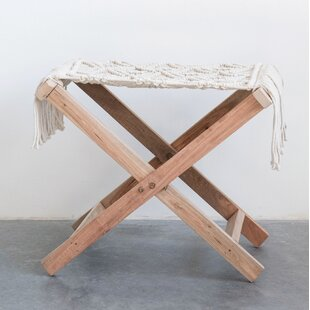 Rhoades Wood Accent Stool by Bungalow Rose