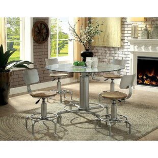Matlock Industrial Round 5 Piece Pub Table Set