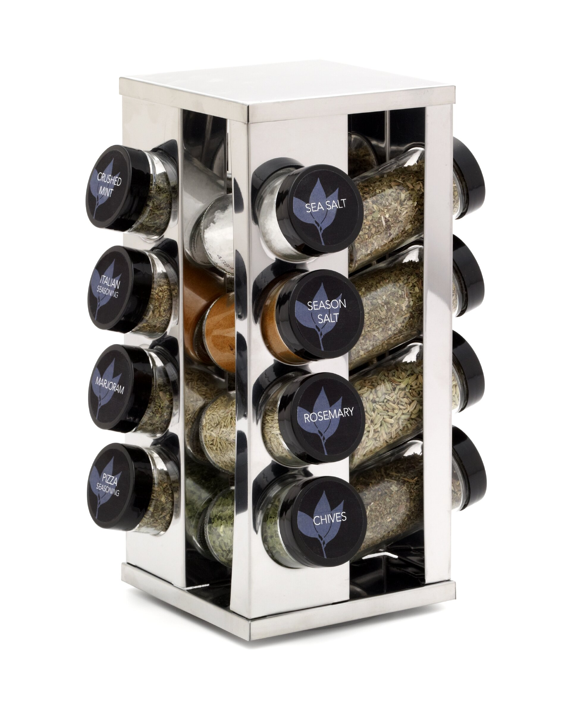 Urban Living Wooden Spice Rack With 6 Spice Jars and a Salt and Pepper Grinder