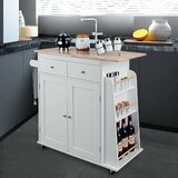 Alkaios Kitchen Cart with Solid + Manufactured Wood by Ebern Designs