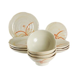 Bridgham Orchid Melamine 12 Piece Dinnerware Set, Service For 4